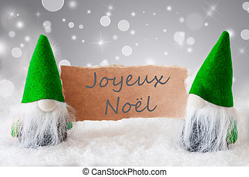 Green Gnomes With Snow, Joyeux Noel Means Merry Christmas -...