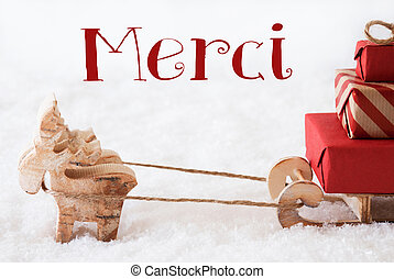 Reindeer With Sled On Snow, Merci Means Thank You - Moose Is...