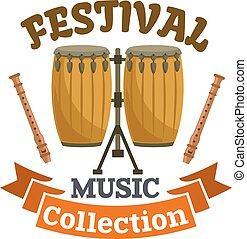 Musical drums. Music festival emblem with vector icon of...