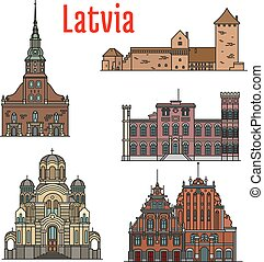 Latvia famous historic architecture icons