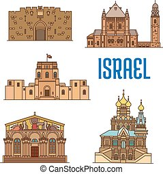 Israel architecture and famous buildings - Israel vector...