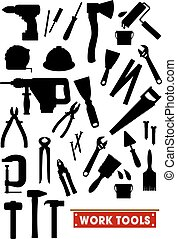 Work tools silhouette icons. Construction, carpentry and...