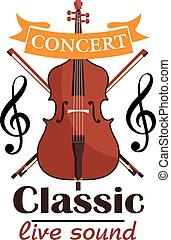Double Bass. Classic live concert emblem with vector icon of...