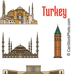 Turkey historic architecture buildings. Vector detailed...