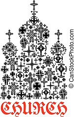 Church icon. Religion christianity cross symbols in shape of...