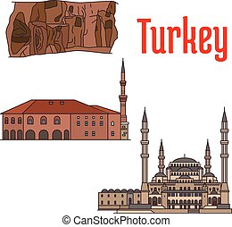 Turkey historic architecture and sightseeings. Vector...