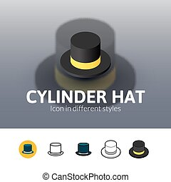 Cylinder hat icon in different style - Cylinder hat color...