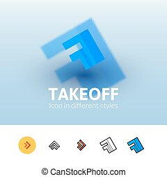 Takeoff icon in different style - Takeoff color icon, vector...
