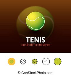 Tennis icon in different style - Tennis color icon, vector...