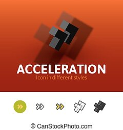 Acceleration icon in different style - Acceleration color...