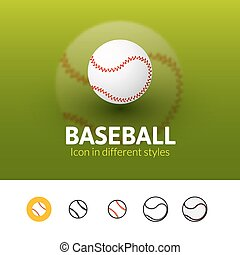 Baseball icon in different style - Baseball color icon,...