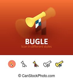 Bugle icon in different style - Bugle color icon, vector...