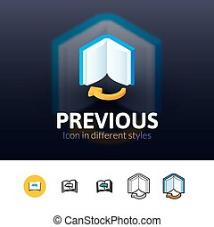Previous icon in different style - Previous color icon,...