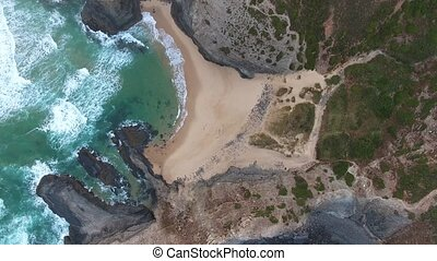 Smooth motion of the waves. Top view. Costa Vicentina....