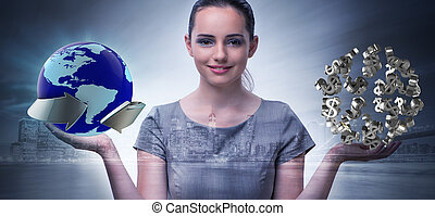 Businesswoman with dollars in business concept