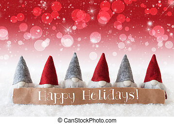 Gnomes, Red Background, Bokeh, Stars, Text Happy Holidays -...