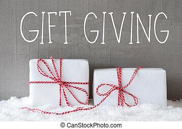 regalo, Dar, texto, dos, regalos, nieve