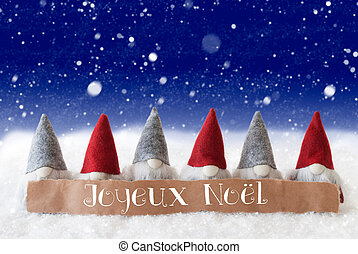 Gnomes, Blue Background, Snowflakes, Joyeux Noel Means Merry...