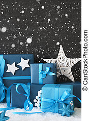 Vertical Blue Christmas Gifts, Black Cement Wall, Snow,...