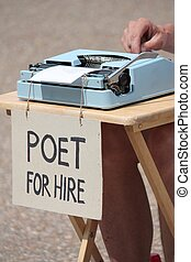 Poet for hire with typewriter