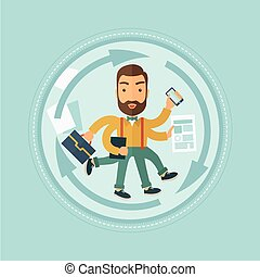 Man coping with multitasking vector illustration. - A...