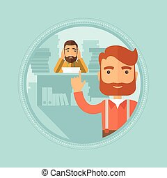Businessman with his employee on background. - A hipster...