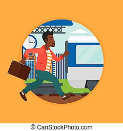 Latecomer man running for the train. - An african latecomer...