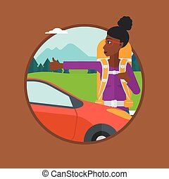 Young woman hitchhiking vector illustration. - An...