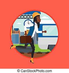 Woman running along the platform. - An african latecomer...