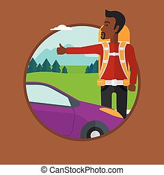 Young man hitchhiking vector illustration. - An...