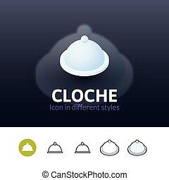 Cloche icon in different style - Cloche color icon, vector...