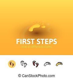First steps icon in different style