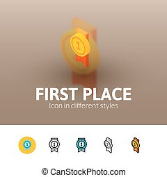 First place icon in different style - First place color...
