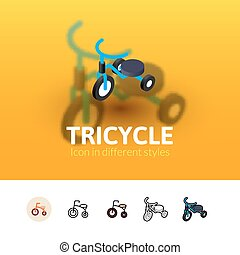 Tricycle icon in different style - Tricycle color icon,...