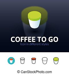 Coffee to Go icon in different style - Coffee to Go color...