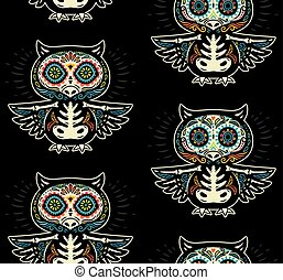 Sugar skull owls pattern Mexican day of the dead background...