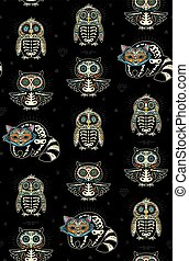 Sugar skull penguin, owl and raccoon pattern in Mexican...