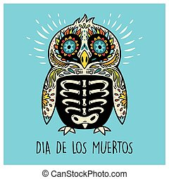 Dia De Los Muertos. Greeting card with sugar skull penguin -...