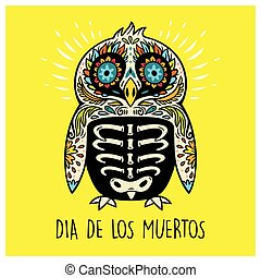 Dia De Los Muertos Greeting card with sugar skull penguin -...