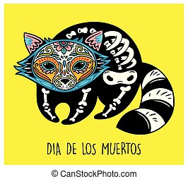 Dia De Los Muertos. Greeting card with sugar skull raccoon -...