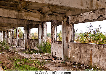 old constructions - Destroyed interior of an industrial...