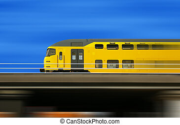 High speed train on a blurred background