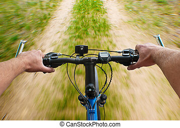 mounting biking on the dirt road - extreme mounting biking...