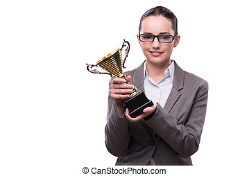 Businesswoman with cup trophy isolated on white