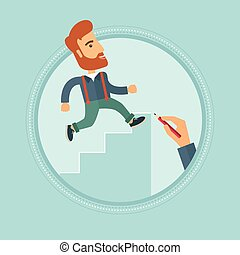 Businessman running upstairs vector illustration. - A...
