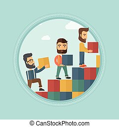 Group of businessmen building ladder to success - Group of...