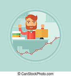 Happy successful businessman vector illustration - Young...