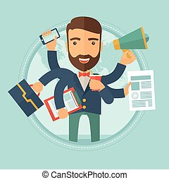 Man coping with multitasking vector illustration. - Happy...