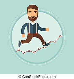 Businessman moving on growth graph. - Excited caucasian...