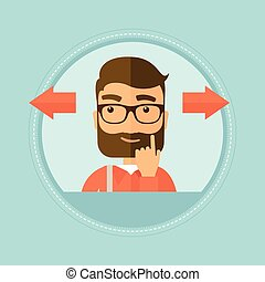Man choosing career way or business solution. - Hipster man...